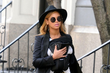Beyonce Rocks Bright Pants on a Stroll with Baby Blue