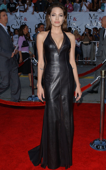 Gothic Glam In A Plunging Leather Gown At The 'Mr. & Mrs. Smith' Premiere