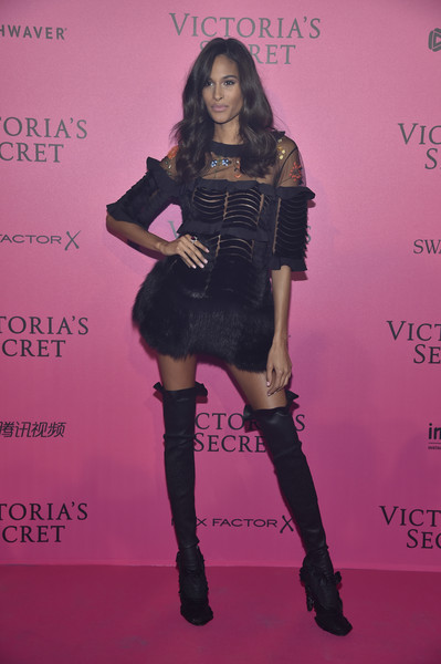 67c179bfa9d Every Stunning Look from the Victoria s Secret Fashion Show After Party · Cindy  Bruna in Thigh-High Boots and Fur