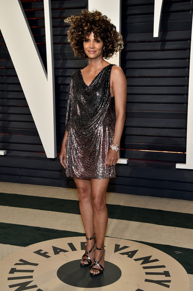 Halle Berry in a Metallic Mini Dress