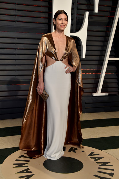 Jessica Biel in a Bronze Cape at the After Party