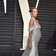 Rosie Huntington-Whiteley in Off-the-Shoulder Silver