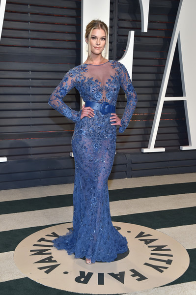 Nina Agdal in Blue Embroidery