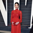 Olivia Munn in High-Neck Red