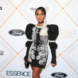 In A Beaded Mini With Juliet Sleeves For The Essence Black Women In Hollywood Awards
