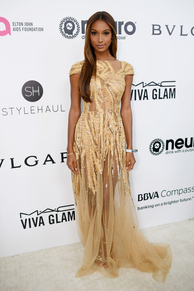 Jasmine Tookes in a Dramatic Gold Gown