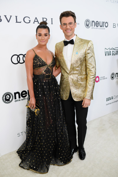 Lea Michele in Black and Gold and Brad Goreski in a Gold Coat