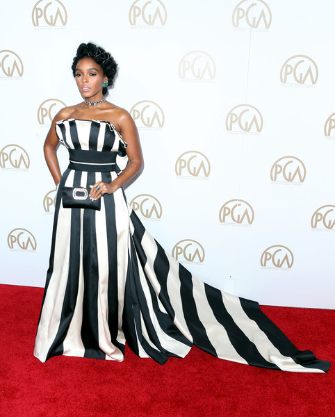 Striking A Pose In A Striped Strapless Gown By Carolina Herrera At The 2017 Producers Guild Awards
