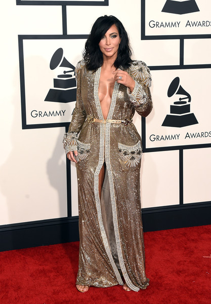 In A Beaded, Robe-Like Jean Paul Gaultier Gown At The 2015 Grammys