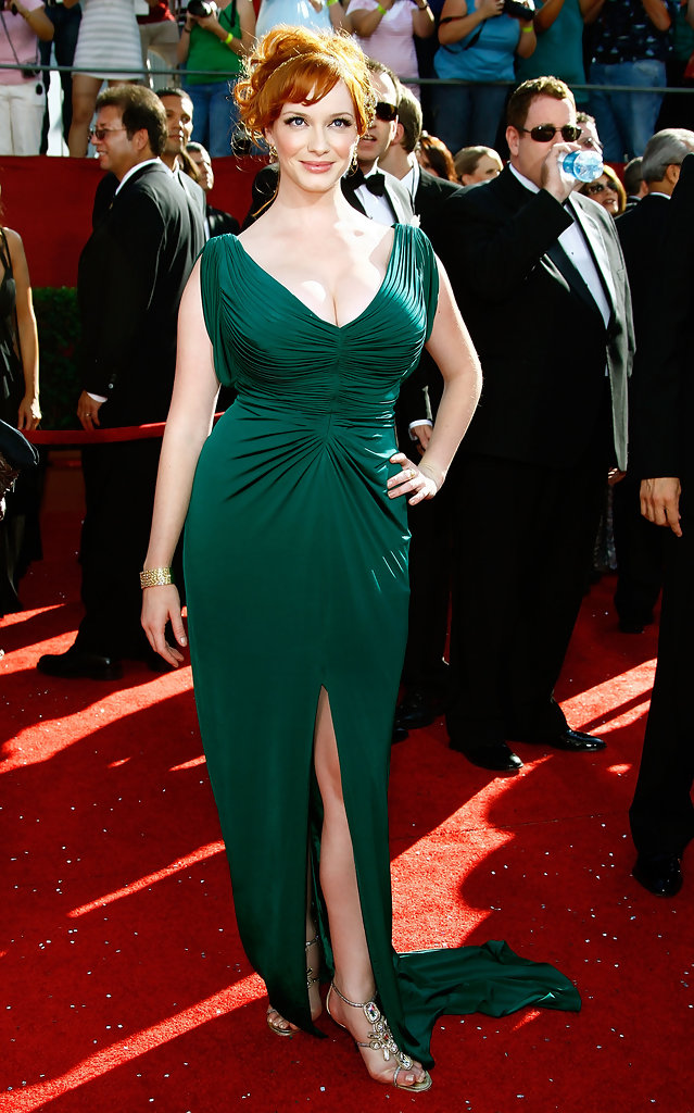 Christina Hendricks 2008 Emmy Awards The Most Gorgeous Emmy Dresses Of The Last 10 Years Livingly