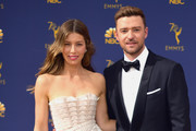 Retransmission with alternate crop.). Jessica Biel (L) and Justin Timberlake attend the 70th Emmy Awards at Microsoft Theater on September 17, 2018 in Los Angeles, California.