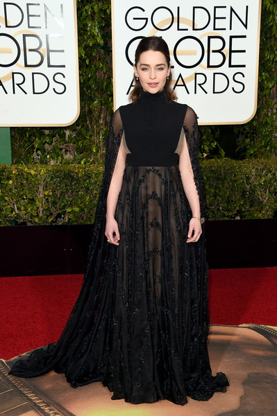 Emilia Clarke in Valentino at the 2016 Golden Globes