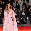 Belen Rodriguez in Pink Chiffon With a Deep Plunge