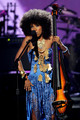 Musician Esperanza Spalding performs a tribute to Prince during the 2010 BET Awards held at the Shrine Auditorium on June 27, 2010 in Los Angeles, California.