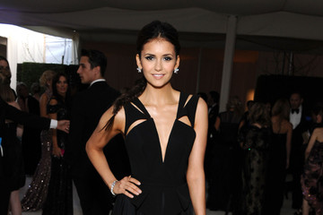 Nina Dobrev at Oscars Party 2012 in Sexy Plunging Dress