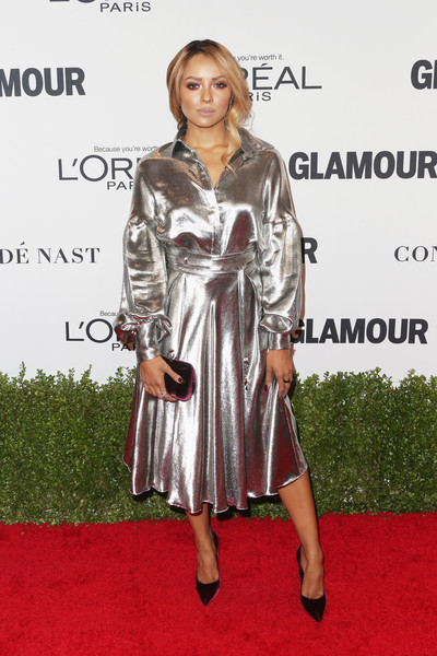 Kat Graham in a Metallic Shirt Dress