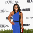 Simone Biles in a Blue Body Con Dress