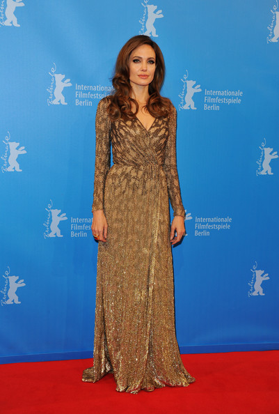 Bronze Goddess In Jenny Packham For The 'In The Land Of Blood And Honey' Premiere