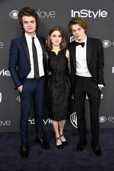 Natalia Dyer With Joe Keery And Charlie Heaton At A 2017 Golden Globes After-Party