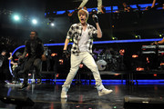 Justin Bieber performs during Z100's Jingle Ball 2010 at Madison Square Garden on December 10, 2010 in New York City.