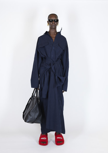 Balenciaga at Paris Spring 2021 [clothing,fashion,blue,outerwear,coat,trench coat,standing,overcoat,fashion show,robe,fashion accessory,clothing,fashion,fashion week,spring,model,trench coat,balenciaga,paris fashion week,fashion show,paris fashion week,fashion,fashion week,balenciaga,fashion show,clothing,fashion accessory,model,spring]