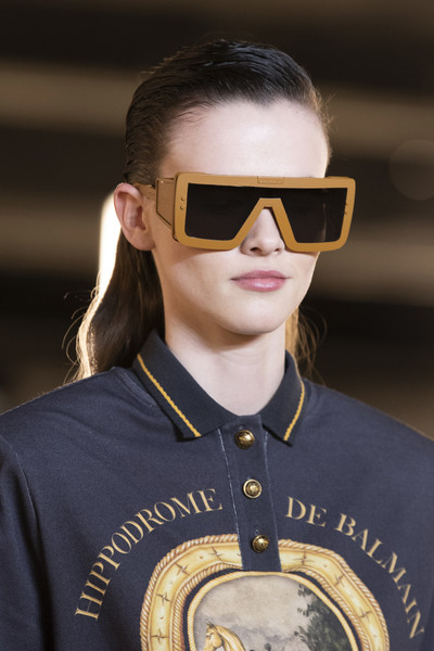 Balmain at Paris Fall 2020 (Details) [eyewear,sunglasses,face,glasses,cool,yellow,chin,vision care,personal protective equipment,aviator sunglass,sunglasses,goggles,socialite,glasses,fashion,media,health,world,fashion magazine,paris fashion week,sunglasses,glasses,fashion,world,goggles,health,socialite,fashion magazine,media]