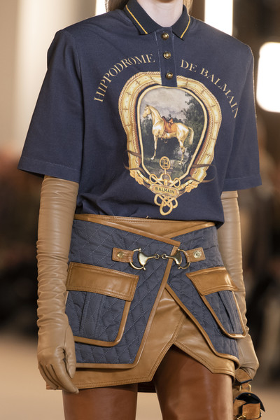 Balmain at Paris Fall 2020 (Details) [clothing,fashion,footwear,t-shirt,outerwear,textile,shoe,uniform,fashion design,sleeve,footwear,shoe,fashion,clothing,model,runway,uniform,fashion design,balmain,paris fashion week,fashion,model,runway]