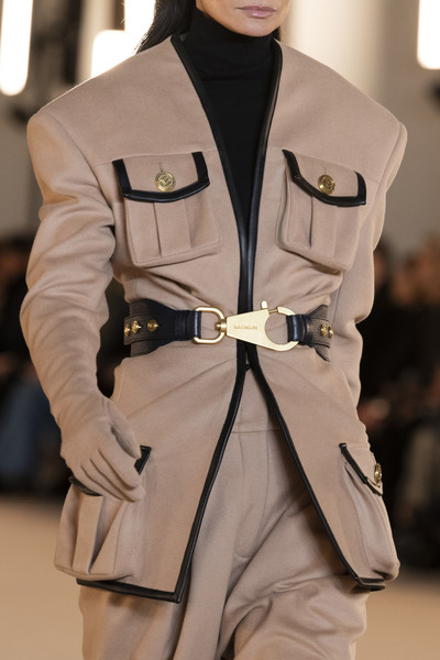 Balmain at Paris Fall 2020 (Details) [fashion,clothing,outerwear,personal protective equipment,fashion design,trench coat,belt,costume,outerwear,fashion,spring,haute couture,model,clothing,fashion design,trench coat,balmain,paris fashion week,haute couture,fashion,model,spring,balmain,summer]