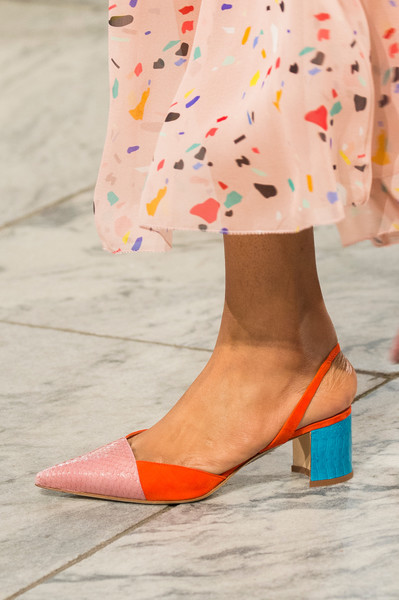 Carolina Herrera at New York Spring 2018 (Details) [footwear,orange,shoe,fashion,yellow,street fashion,sandal,ankle,leg,high heels,shoe,footwear,shoe,fashion,boot,street fashion,clothing,pump,sandal,new york fashion week,new york fashion week,shoe,high-heeled shoe,boot,fashion,clothing,footwear,sandal,pump,court shoe]