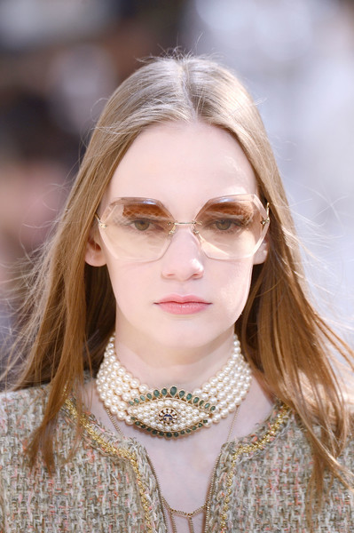 Chanel at Paris Fall 2016 (Details) [eyewear,hair,face,glasses,white,lip,fashion,blond,beauty,skin,fashion accessory,jewellery,sunglasses,fashion,glasses,runway,eyewear,white,chanel,paris fashion week,chanel,glasses,fashion,jewellery,fashion accessory,runway,sunglasses,pearl]