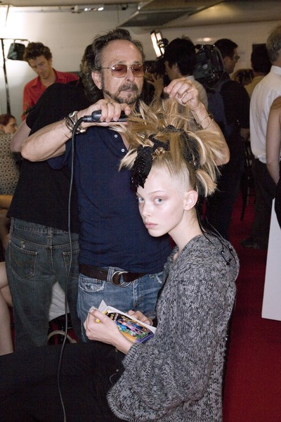 Christian Lacroix at Couture Fall 2008 (Backstage) [hair,fashion,hairstyle,beauty,event,fashion design,fun,haute couture,flooring,flooring,socialite,christian lacroix,couture fall,haute couture,hairstyle,hair,celebrity,fashion design,event,haute couture,celebrity,socialite,flooring,hairstyle,event,hair salon hairstyle m]