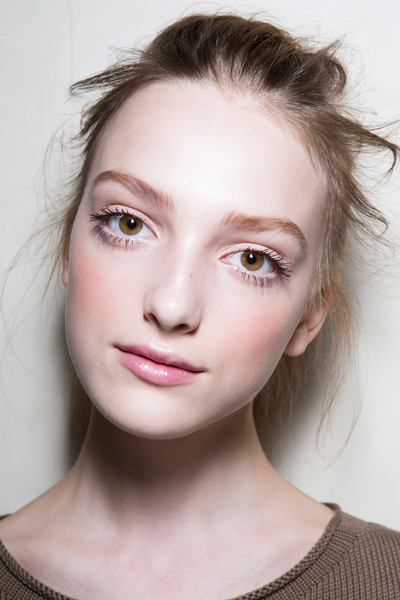 Cristiano Burani at Milan Spring 2015 (Backstage) [face,hair,eyebrow,lip,skin,beauty,hairstyle,chin,cheek,forehead,beauty,forehead,color,face,eye liner,makeup,pink,purple,photography,milan fashion week,color,pink,face,purple,eye liner,facial makeup,forehead,photography,beauty,image]