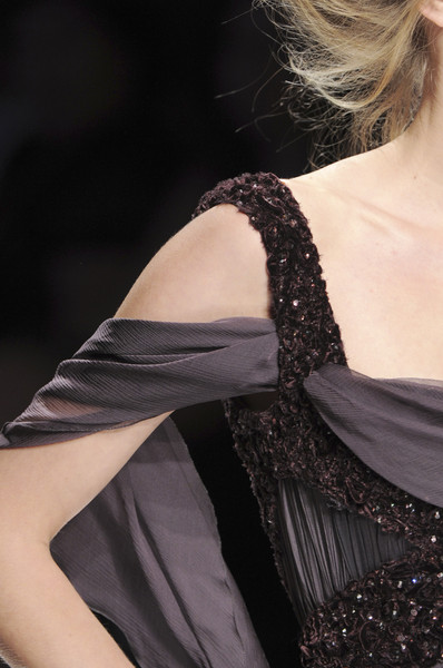 Elie Saab at Couture Fall 2008 (Details) [shoulder,clothing,fashion,dress,haute couture,fashion model,beauty,cocktail dress,model,neck,cocktail dress,dress,gown,supermodel,couture fall,haute couture,fashion,beauty,model,runway,haute couture,fashion,model,supermodel,runway,elle,cocktail dress,beauty,gown,dress]