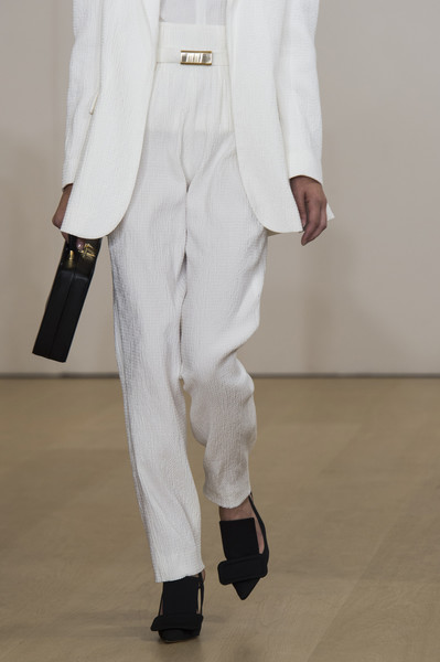Emilia Wickstead at London Spring 2019 (Details) [white,clothing,suit,fashion,formal wear,outerwear,trousers,footwear,neck,tuxedo,trousers,footwear,emilia wickstead,fashion,white,clothing,suit,neck,wear,london fashion week,fashion]