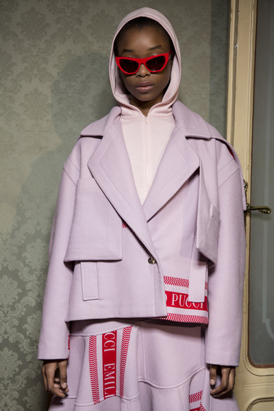 Emilio Pucci at Milan Fall 2018 (Backstage) [white,clothing,fashion,eyewear,pink,outerwear,street fashion,fashion design,jacket,human,outerwear,sunglasses,human,fashion,jacket,costume,textile,glasses,street fashion,milan fashion week,sunglasses,fashion,outerwear,glasses,costume,jacket,textile,human,coolmath games]