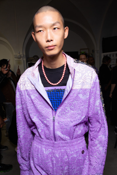 Emilio Pucci at Milan Fall 2020 (Backstage) [fashion,purple,fashion show,fashion design,street fashion,outerwear,runway,haute couture,event,electric blue,socialite,human,fashion,runway,haute couture,street fashion,model,purple,milan fashion week,fashion show,runway,fashion show,haute couture,fashion,model,socialite,pink m,human]
