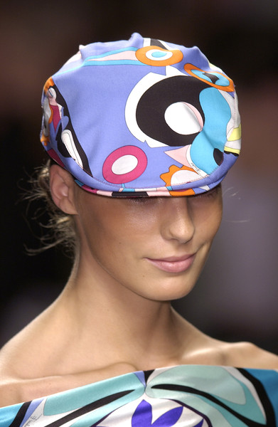 Emilio Pucci at Milan Spring 2004 (Details) [clothing,cap,fashion,headgear,helmet,personal protective equipment,fashion accessory,costume accessory,swim cap,bicycle helmet,fashion accessory,emilio pucci,fashion,cap,capital asset pricing model,clothing,headgear,equipment,milan fashion week,bicycle helmet,microsoft azure,capital asset pricing model]