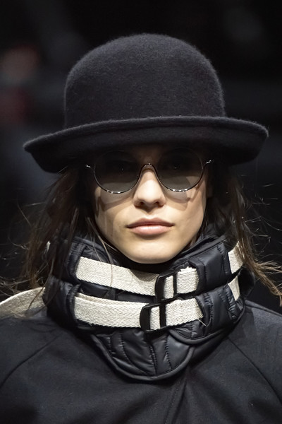 Emporio Armani at Milan Fall 2020 (Details) [autumn,eyewear,hat,fashion,headgear,glasses,fedora,fashion accessory,black hair,vision care,sunglasses,sunglasses,fashion accessory,fashion,glasses,winter,hair,emporio armani,milan fashion week,fashion show,armani,sunglasses,giorgio armani,ready-to-wear,fashion,autumn,winter,milan fashion week,fashion show]
