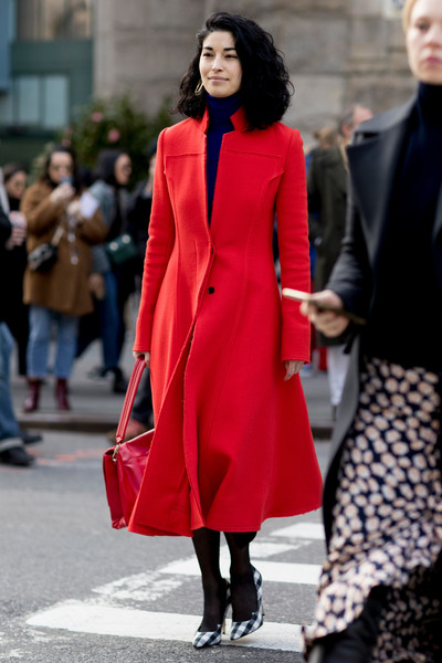 Caroline Issa in Gingham Heels and a Red Coat