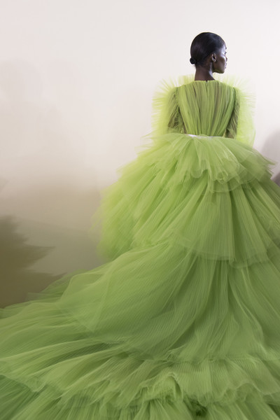 Giambattista Valli at Couture Spring 2018 (Backstage) [green,dress,clothing,gown,shoulder,fashion,haute couture,fashion design,costume design,bridal party dress,dress,gown,ball gown,evening gown,giambattista valli,fashion,clothing,haute couture,wedding dress,couture spring 2018,wedding dress,gown,fashion,dress,haute couture,ball gown,evening gown,clothing,train,shoe]