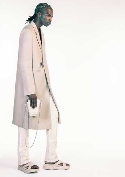 Givenchy at Paris Spring 2021 [shoulder,standing,outerwear,human,joint,fashion design,beige,coat,outerwear,human,shoulder,standing,fashion design,beige,coat,joint,givenchy,paris fashion week]