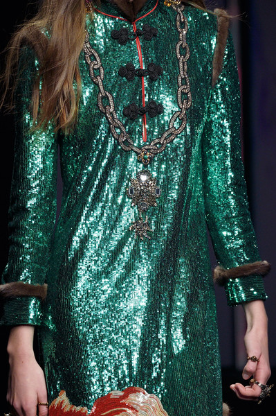 Gucci at Milan Fall 2016 (Details) [clothing,fashion model,fashion,dress,turquoise,haute couture,neck,fashion design,formal wear,sleeve,clothing,fashion,haute couture,runway,model,fashion model,neck,gucci,milan fashion week,fashion show,runway,milan fashion week,fashion,haute couture,gucci,clothing,fashion show,model]