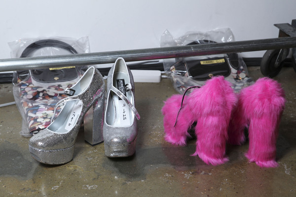 Jeremy Scott at New York Fall 2011 (Backstage) [pink,footwear,shoe,magenta,fur,shoe,footwear,jeremy scott,product,pink m,fur,pink,new york fashion week,magenta,product,pink m]