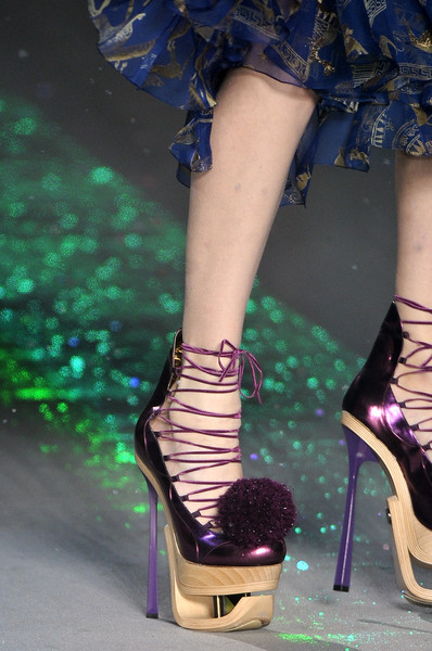 John Galliano at Paris Fall 2009 (Details) [human leg,leg,footwear,fashion,high heels,purple,ankle,shoe,haute couture,fashion model,shoe,shoe,john galliano,purple,foot,human leg,leg,meter,ankle,paris fashion week,shoe,high-heeled shoe,sandal,purple,meter,foot]