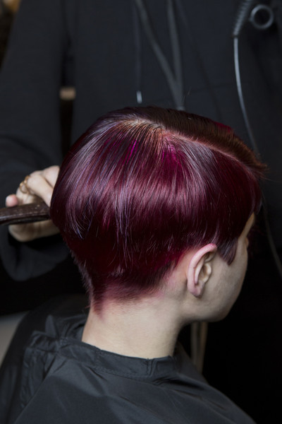 Marc Jacobs at New York Fall 2018 (Backstage) [hair,hairstyle,hair coloring,red,purple,magenta,black hair,ear,red hair,long hair,marc jacobs,hair,hairstyle,hair,brown hair,hair coloring,human hair color,red hair,purple,new york fashion week,hairstyle,black hair,hair coloring,hair,2018 met gala,long hair,lob,human hair color,brown hair]