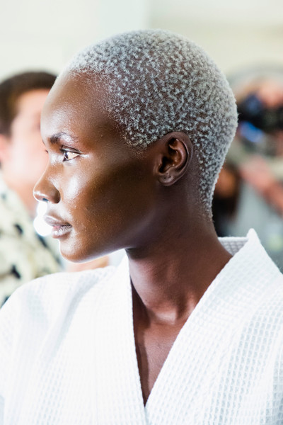 Marc Jacobs at New York Spring 2019 (Backstage) [hair,hairstyle,buzz cut,forehead,chin,ear,s-curl,black hair,neck,shoe,marc jacobs,hairstyle,forehead,hair,fashion,model,waist,blog,new york fashion week,fashion,model,hairstyle,muse model management,forehead,waist,blog,shoe]