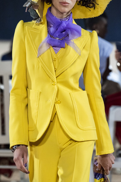 Marc Jacobs at New York Spring 2020 (Details) [fashion,yellow,clothing,fashion show,runway,suit,fashion model,haute couture,outerwear,pantsuit,marc jacobs,fashion,runway,haute couture,fashion,spring,model,fashion model,new york fashion week,fashion show,fashion show,runway,fashion,ready-to-wear,spring,autumn,fast fashion,haute couture,model]