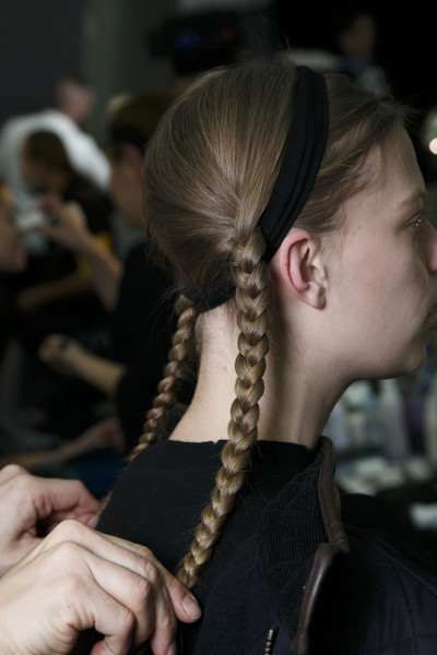 Marc by Marc Jacobs at New York Fall 2014 (Backstage) [hair,hairstyle,french braid,braid,long hair,fashion,neck,blond,chignon,black hair,marc by marc jacobs,hair,hairstyle,chignon,head hair,hair,bun,fashion,neck,new york fashion week,long hair,hairstyle,06q,bun,\u043a\u043b\u0435\u043e.\u0440\u0443,head hair,chignon]