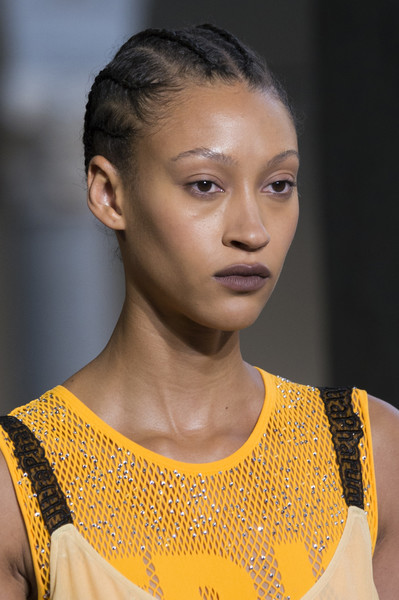 Marco de Vincenzo at Milan Spring 2018 (Details) [hair,fashion,eyebrow,hairstyle,fashion model,beauty,skin,yellow,lip,shoulder,human,supermodel,fashion,yellow,model,hair,runway,fashion model,beauty,milan fashion week,runway,model,supermodel,yellow,fashion,human,beauty.m]