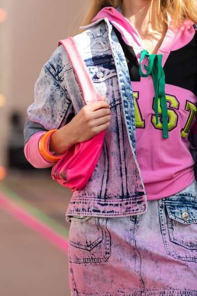 Mark Fast at London Spring 2021 (Details) [pink,street fashion,clothing,jeans,fashion,denim,magenta,textile,cool,style,jeans,bikini top,mark fast,fashion,denim,pink,pattern,textile,dos gardenias stein square,london fashion week,fashion,denim,dos gardenias stein square neck bralette bikini top,pattern,jeans]